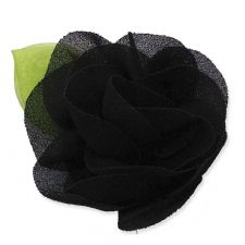 6cm Rose Leaf GREY Fabric Flower Applique